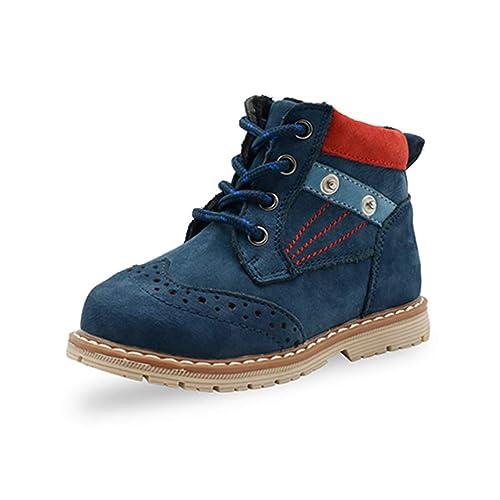 Botas Martin de Cuero clásicas para niños pequeños con Cremallera Lateral Moda Infantil Azul Marrón Primavera Otoño Botines para niños pequeños Zapatos ...