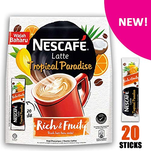 (Nescafe 3 in 1 Tropical Mango, Orange, Coconut Coffee Latte - Instant Coffee Packets - Single Serve Flavored Coffee Mix (Tropical, 1 Pack) )