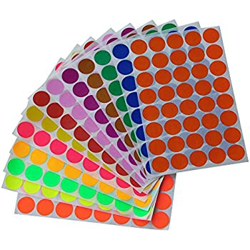 """Round stickers 3/4"""" inch in 13 Assorted Colored Sticker Dots 19mm 3/4 inch - 520 Pack by Royal Green"""