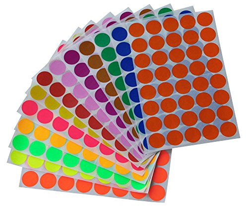 "Round stickers 3/4"" inch in 13 Assorted Colored Sticker Dots 19mm 3/4 inch - 520 Pack by Royal Green"