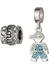 CHARMED BEADS Sterling Silver Mother Son Bead Charm Set