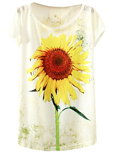 Futurino Womens Sunflowers Print Drop Sleeve Pullover T Shirt Top Tees
