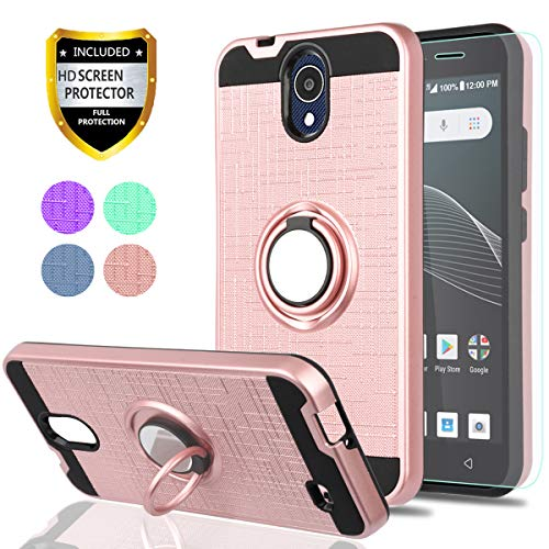 AT&T AXIA Case (QS5509A),Cricket Vision Case with HD Phone Screen Protector,YmhxcY 360 Degree Rotating Ring & Bracket Dual Layer Resistant Back Cover for AT&T AXIA (Cricket Vision) 2018-ZH Rose Gold