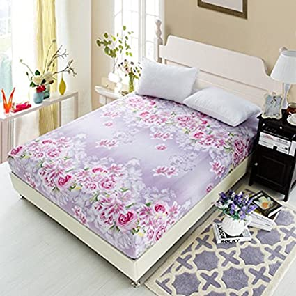 BERTERI 1pc 100% Polyester Fitted Sheets Mattress Cover Flowers Printed  Bedding Bedsheet With Elastic Band