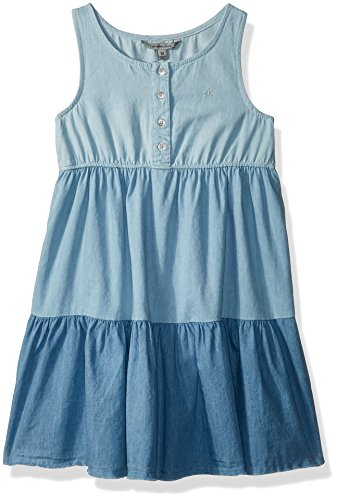 Calvin Klein Little Girls' Sleevless Denim Dress, Ombre Chambray, 5