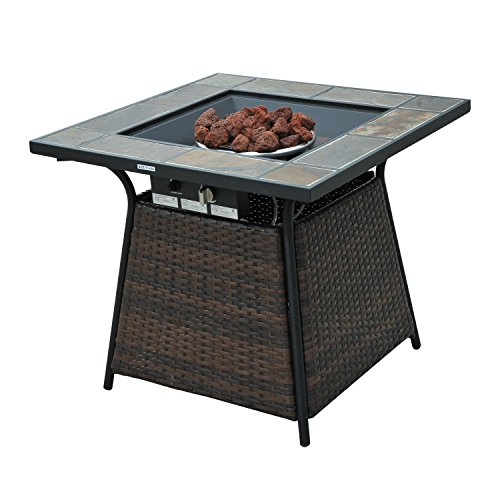 "Outsunny 32"" Outdoor Wicker Base LP Gas Fire Pit Table w/ Tile Mantel (Gas Fireplace Outside Inside)"