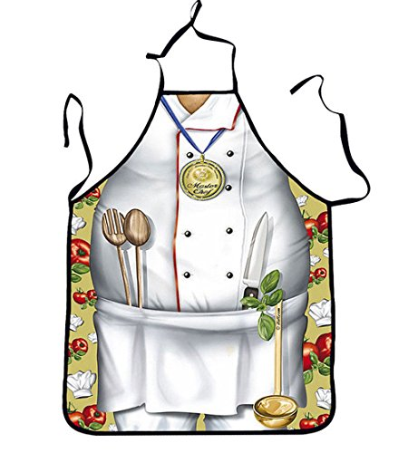 Funny Aprons - Men Aprons Cooking Kitchen BBQ Aprons, Adult Sexy Apron BEST Halloween Cosplay Party Costume Christmas Gift (Gold Medal Chef)]()