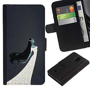 A-type (Elfa Bruja Hada Mujer blanca vestido de noche) Colorida Impresión Funda Cuero Monedero Caja Bolsa Cubierta Caja Piel Card Slots Para Samsung Galaxy S5 Mini (Not S5), SM-G800