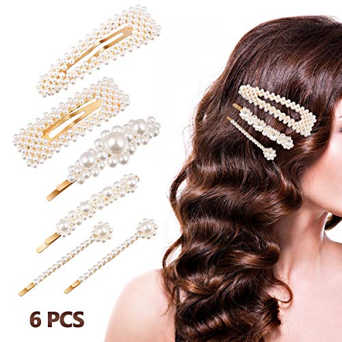 Pearl Hair Clips for Women Girls, ETEREAUTY Pearl Barrettes Hair Pins, Fashion Sweet Hair Decorative for Party Wedding Daily, 6 PCS