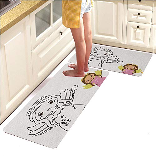 2 Piece Non-Slip Kitchen Mat Rubber Backing Doormat Runner Rug Set, Coloring Page with Cute Angel Character in Kawaii Style Drawing Kids Game Printable Activity (18