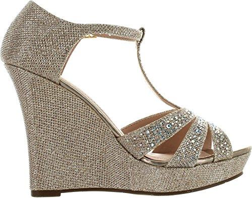Picture of DeBlossom Womens Dressy Glitter Rhinestone T Strap Platform Wedge Sandal Aalle-2