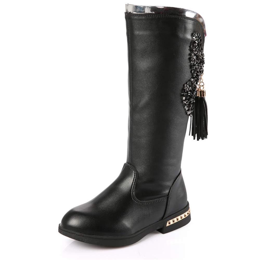 Fancyww Boots Autumn and Winter Princess Martin Boots Black-EU 28//11 M US Little Kid