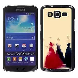 Be Good Phone Accessory // Dura Cáscara cubierta Protectora Caso Carcasa Funda de Protección para Samsung Galaxy Grand 2 SM-G7102 SM-G7105 // Red Black Dress Yellow Fashion Art