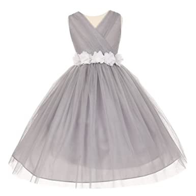 69831b010 Cinderella Couture Little Girls Silver White Chiffon Floral Sash Tulle  Flower Girl Dress 2