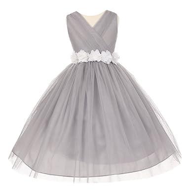 Amazon little girls silver white chiffon floral sash tulle cinderella couture little girls silver white chiffon floral sash tulle flower girl dress 2 mightylinksfo