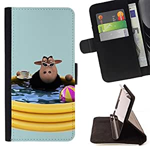 DEVIL CASE - FOR Samsung Galaxy Note 4 IV - Funny Pool Sheep - Style PU Leather Case Wallet Flip Stand Flap Closure Cover