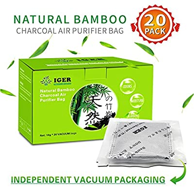 Natural Air Purifier and Diaper Pail Deodorizer Bamboo Carbon Filters/Bamboo Charcoal Bags,Odor Eliminator for Cars,Shoes,Closets,Bathroom,Pets 200G( 20 Pack )