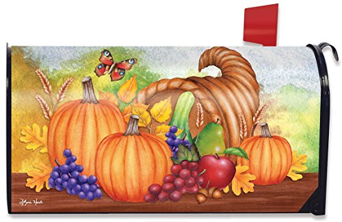 Horn Of Plenty Fall Mailbox Cover Thanksgiving Autumn Pumpkins Fruit Standard