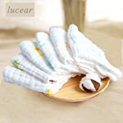 Lucear Baby Towels Bath Washcloth (6-Pack), 12 x12  Reusable Wipes