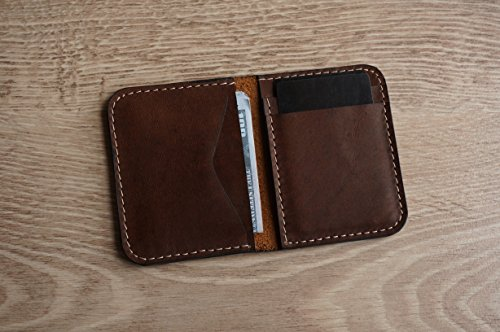 Brown leather card holder & wallet in one. Genuine crazy horse slim card holder in a minimalist design. Tiny card holder to slip in a front - Horse Primal