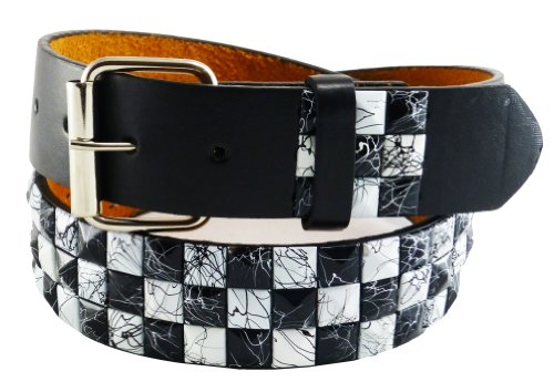 Nice Shades Punk Studded Leather/Faux Bonded Snap On Belt Black White Crack Large - Stud Studded Black Belt