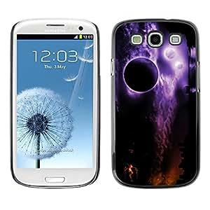 FECELL CITY // Duro Aluminio Pegatina PC Caso decorativo Funda Carcasa de Protección para Samsung Galaxy S3 I9300 // Space Planets Night Eclipse Purple