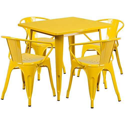 MFO 31.5'' Square Yellow Metal Indoor-Outdoor Table Set with 4 Arm Chairs