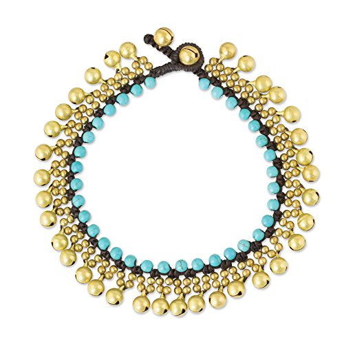 - NOVICA Blue Calcite Brass Ringing Jingle Bell Beaded Anklet, 9.75