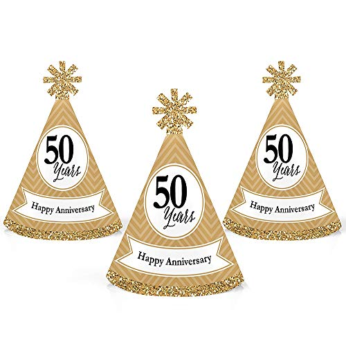 - We Still Do - 50th Wedding Anniversary - Mini Cone Anniversary Party Hats - Small Little Party Hats - Set of 10