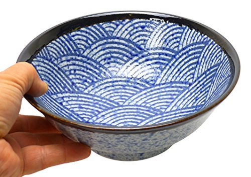 Spiceberry Home Porcelain Bowl with Seigaiha Wave Design, 8.25-Inch, Set Of Two (Japanese Stoneware)