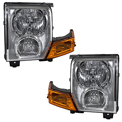 Halogen Headlights Headlamps Driver and Passenger Replacements for 06-10 Jeep Commander SUV 55396537AI 55396536AI