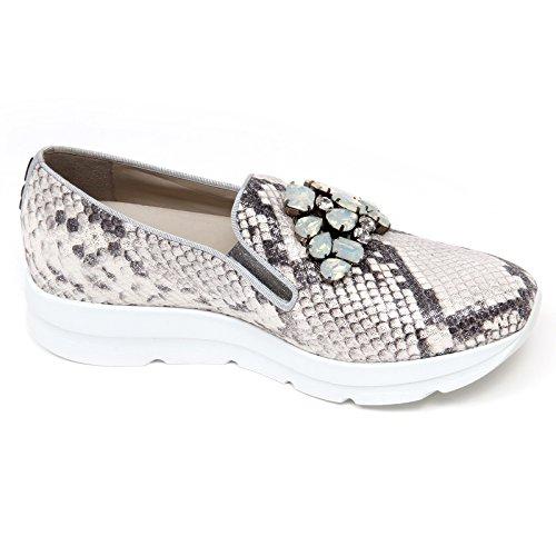 UNO shoe D0714 avorio donna mocassino woman SIRI UNO on slip Avorio 8 argento 181 REEgrq