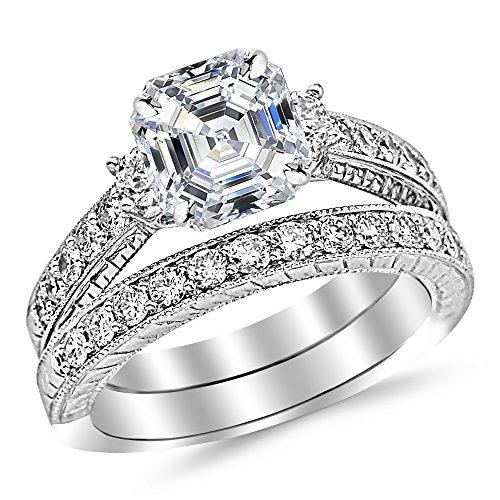 Asscher Cut Diamond Wedding Band - Platinum 3.55 CTW Three Stone Vintage With Milgrain & Filigree Bridal Set with Wedding Band & Diamond Engagement Ring w/2.52 Ct GIA Certified Asscher Cut E Color VS2 Clarity Center