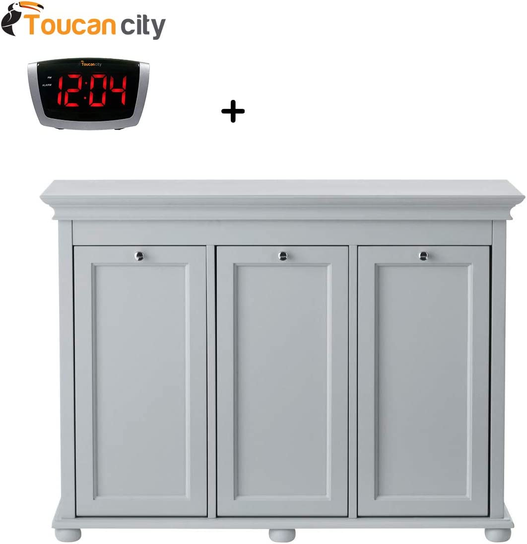 Home Decorators Collection Hampton Harbor 37 In Triple Tilt Out Hamper In Dove Grey 2601330270 And Toucan City Led Alarm Clock Amazon Co Uk Kitchen Home