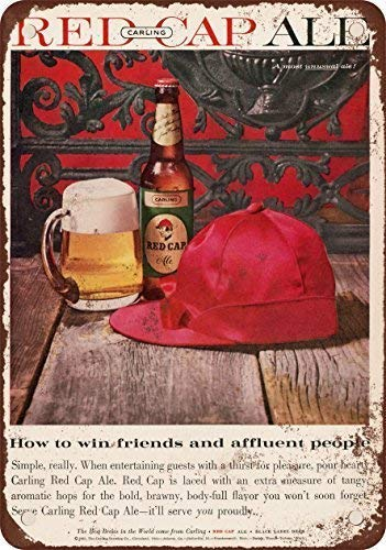 Qanbt 1960 Carling Red Cap Ale Vintage Look Reproduction Metal Tin Sign 7.8inch11.8inches