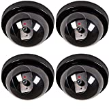 #10: WALI Dummy Fake Security CCTV Dome Camera with Flashing Red LED Light with Warning Security Alert Sticker Decals, 4 Piece