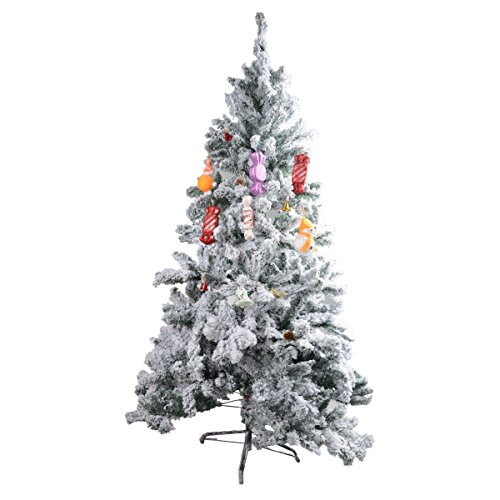 Saim 6 Feet Snow White Snowy Frost Artificial Flock White on Green Christmas Tree with Solid Metal Legs