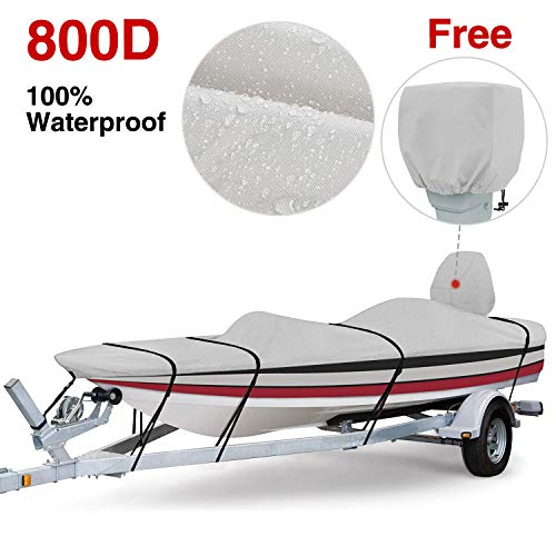 (RVMasking 800D 100% Waterproof Boat Cover for V-Hull Runabouts and Bass Boats (16-18.5 ft Long by up to 98 inches Wide))