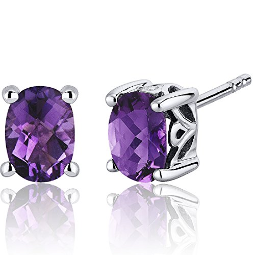 Amethyst Stud Earrings Sterling Silver Oval Cut 1.50 Carats