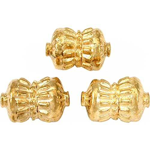 19g Bali Barrel Beads Gold Plate Tube 17mm Approx 3
