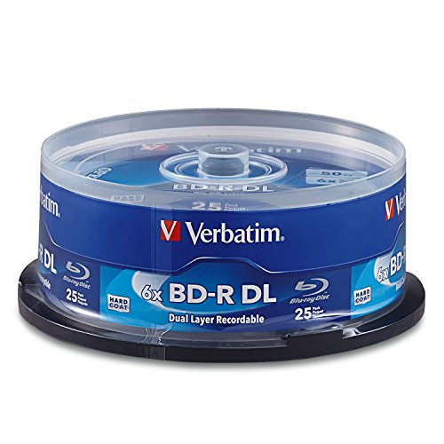 Verbatim BD-R 50GB 6X Blu-ray Recordable Media Disc - 25 Pack Spindle - 98356