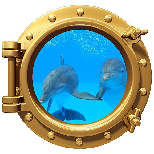 12'' Port Scape Instant Sea Window View DOLPHIN #4 holding flippers BRONZE Porthole Wall Decal Graphic Sticker Home Kids Game Room Mural Art Decor NEW