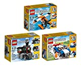Bundle Lego Creator 3 in 1 Emerald Express 31015, Blue Racer 31027, and Sea Plane 31028