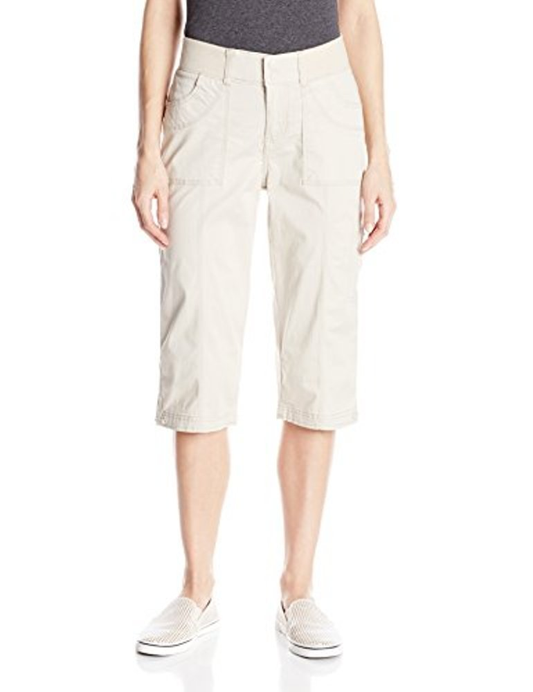 LEE Women's Relaxed Fit Taylor Knit Waist Capri Pant, Driftwood, 6