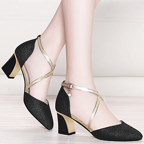 Women's Summer Closed Toe Low Mid Block Heel Shoes Strappy Buckle Sandals For Dress Evening Wedding Party Black GThXMoX
