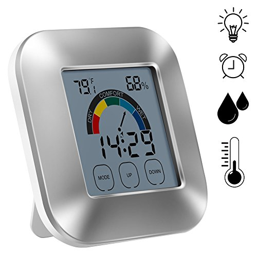 Price comparison product image Yunt Indoor Thermometer Hygrometer Smart Digital Electronic Touch Type Weather Clock Comfort Indicator Thermometer without Batteries