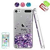 iPod Touch 6 Case, iPod Touch 5 Case with HD Screen Protector for Girls,Atump[Love Heart Series] Liquid Glitter Bling Sparkly TPU Clear Phone Cover for Apple iPod Touch 6th / 5th Generation Purple