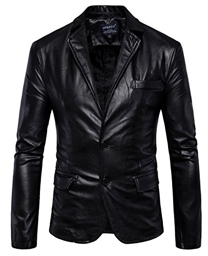 Black Leather Blazer Mens - 8