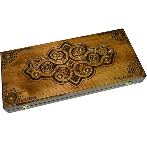 Exlusive Handmade Backgammon Set. 21.65 X 18.89 Inch. Inlaid with Copper. Board Game. Walnut Wood. Large Size