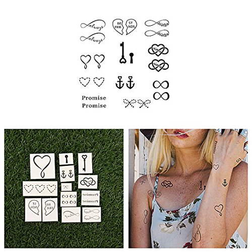 Tattify Best Friend Temporary Tattoos - Soul Sister (Complete Set of 22 Tattoos - 2 of each Style) - Individual Styles Available - Fashionable Temporary Tattoos (The Best Sister Tattoos)